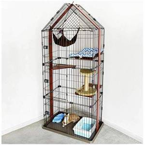 YLCJ Cages for cats Triangle House Deluxe solid wood hammock condominium for pets Lockable metal door box 86X58X212CM