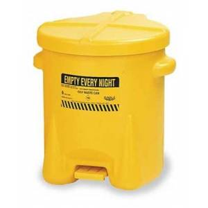 Eagle 937-FLY Oily Waste Polyethylene Safety Can with Foot Lever, 14 Gallon Capacity, Yellow