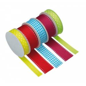 KitchenCraft Sweetly Does It Cake Ribbon, Fabric, Set of 5 Colourful Ribbons for Crafts, Cakes and Gifts