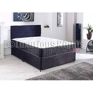 Luxurious Nights SUEDE FABRIC DIVAN BED WITH MEMORY FOAM MATTRESS FREE HEADBOARD STORAGE DRAWERS (BLACK, 3FT 0 DRAWS)