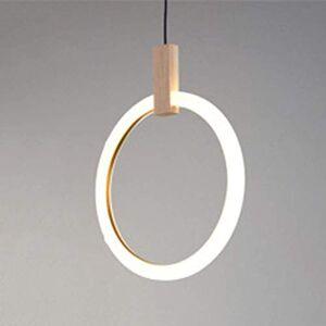 XIAOWEI Pendant Light Modern Minimalist Wood Dining Room lamp bar Table lamp Living Room Art Lighting Creative Circular Ring Staircase Decorative Chandelier