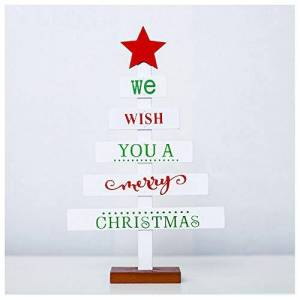 AMhomely Christmas Decorations Sale,Wooden Mini Christmas Tree Desktop Ornaments Merry Christmas Party Decor Merry Christmas Decorative Xmas Decor Ornaments Party Decor Gifts For Kids Adults