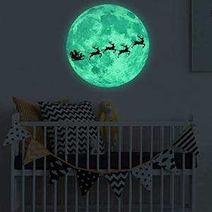 AMhomely Christmas Decorations Sale,Luminous Moon Removable Wall Sticker Home Christmas Decoration Merry Christmas Decorative Xmas Decor Ornaments Party Decor Gifts For Kids Adults