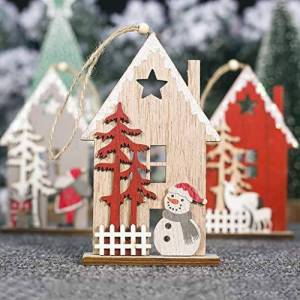 AMhomely Christmas Decorations Sale, House Shaped Christmas Tree Hanging Pendant Wooden Small Hanging Ornament Xmas Hanging Ornaments For Women,Men,Kids