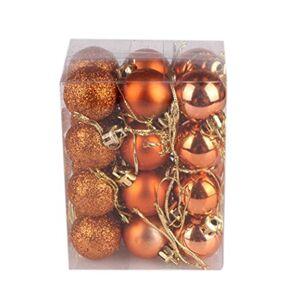 Y56 Amusing Colourful Christmas Tree Baubles, 30mm Christmas Xmas Tree Ball Bauble Hanging Home Party Ornament Decor,Festival Party Pendant Baubles,24Pcs/Pack(30mm) (Orange)