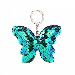 OSYARD Keychain Fashion Sequins Reflective Butterfly Glossy Bow Key Pendant Ladies Bag Xmas Decor Baubles Pendant Ornament Deco Accessories Valentines Gift