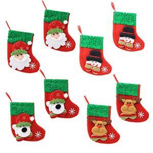 HONGCI 8pcs Christmas Santa/Bear/Snowman/Reindeer Xmas Stocking for Christmas Cutlery Holders, Silverware Holders Pockets, Christmas Tree Ornaments, Christmas Tree Hanging Decoration