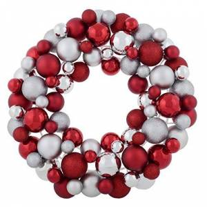 Mr Crimbo Christmas Bauble Wreath Decoration Hanging Ornament 45cm - Red/Silver