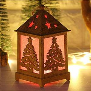 sunnymi Christmas Night Light Cabin Christmas Snow Wooden House Cabin Decoration Cottage Lights Ornament Decor (A)