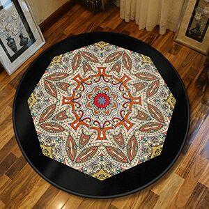 Aiyaoo Stair Carpetd Round 60cm Ethnic Style Retro Mandala Slip Rug Rubber Rug Easy Cleaning for Living Room Bedroom Children's Room Dining