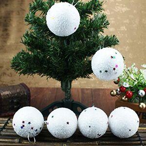 uBabamama_Christmas 6PCS Christmas Tree Hanging Decorations Snowballs Home Baubles Decorations Ornaments White Snowball Christmas by uBabamama(S)