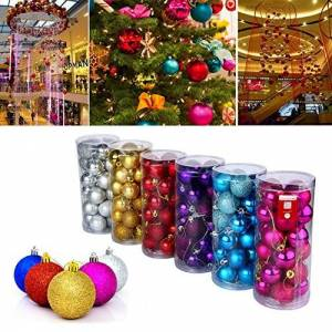 99native@ 24Pcs Christmas Balls Ornaments for Xmas Christmas Tree Christmas Tree Balls Bauble Door Wall Hanging Ornaments Decorations Tree Decorative Balls Holiday Wedding Party Home Festival Deco (Silver)
