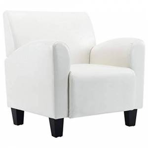 vidaXL Armchair Lounge Chair Upholstered Armchair Leather Chair Bedroom Living Room Upholstered Furniture White Artificial Leather