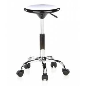 hjh OFFICE, 685250, Counter chair, draughtsman chair, ALLROUND, black, easy care plastic, high rise task chair, plastic seat, height adjustable, chrome designer base with pressure-activated castor wheels, cheap, low-cost, multicolor