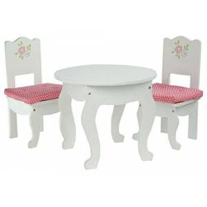 Olivia's Little World - Princess White Table and 2 Chairs Set with Cushions   Wooden 18 inch Doll Furniture