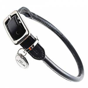 Ygcww Adjustable Pet Collars Neck Waterproof Perfect Size For Dogs Catssoft ComfortableLeather small and medium dogs black large 55.9Cm recommended 15-30Kg