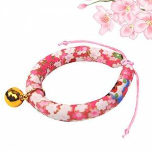 IFEN Japanese Style Wind Collar Puppy Collar Cat Bell Collar Pet Teddy Pomeranian Dog Collar Best Pet Gift - Red Flower - XS