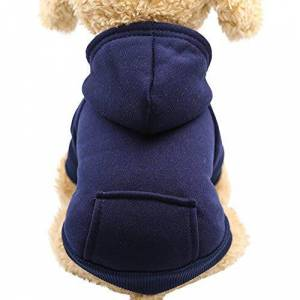 KFR4rh Pet Clothes for Small Dogs, Hoodie for Dogs, Dog Cat Hoodie Cotton Pet Coats Solid Color Clothing for Small Dogs Puppy Teddy Poodle Chihuahua (XXL, Navy)