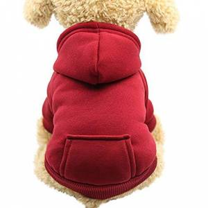 KFR4rh Pet Clothes for Small Dogs, Hoodie for Dogs, Dog Cat Hoodie Cotton Pet Coats Solid Color Clothing for Small Dogs Puppy Teddy Poodle Chihuahua (XL, Wine Red)