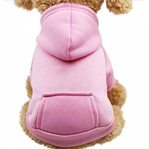 KFR4rh Pet Clothes for Small Dogs, Hoodie for Dogs, Dog Cat Hoodie Cotton Pet Coats Solid Color Clothing for Small Dogs Puppy Teddy Poodle Chihuahua (XS, Pink)