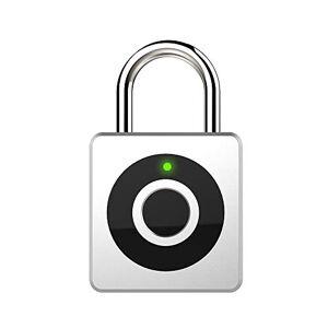 Smart Padlock - eLinkSmart Fingerprint Keyless Biometric Lock USB Charging for Outdoor Backpack, Luggage Suitcase, Bike, Office,Gym,Swiming (Silver)