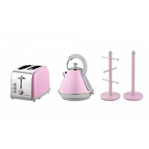 Matching Kitchen Set of Three items: Electric Kettle, Two Slice Toaster and Mug Tree and Kitchen Roll Holder Stand Set in Light Blue, Pink or Mint Green (Pink)