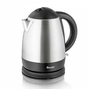 Swan Brushed Stainless Steel Jug Kettle, Cordless Design, 2000W, 1 Litre, Silver