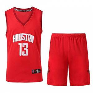 JuneBart Men Basketball Uniform Set NAB Houston Rockets 13# Harden Basketball Jersey Classic Embroidery Basketball Swingman Sleeveless Top&Shorts