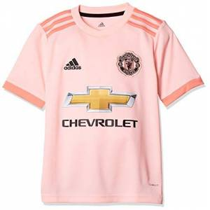adidas Kid's Manchester United FC Away Authentic Short Sleeve Jersey, Icey Trace Pink/Black, 164