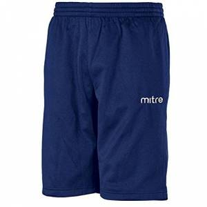 Mitre Men's Primero Poly Football Training Shorts, Navy, Large