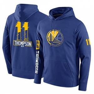 WZHHH Men's Basketball Hoodie, Golden State Warriors #11 Thompson Winter Loose Fashion Basketball Uniform Neutral Casual Warm Jersey Pullover,Blue,L:175cm/80~90kg