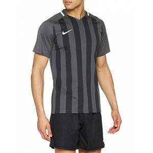 Nike Men Striped Division III Short Sleeve Top - Anthracite/Black/White/White, Large