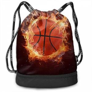 fuyon Gym bags, Rucksacks, Men & Women Premium Polyester Drawstring Backpack Cool Fire Flame Basketball Gymsack Theft Proof Lightweight For Travel Soccer Baseball Bag Large For Camping, Yoga Runner