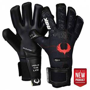 Renegade GK Limited Edition Rogue Quantum Goalie Gloves with Pro-Tek Fingersaves   4mm Giga Grip & Neoprene   Black & Red Goalkeeper Gloves (Size 10, Adult, Negative Cut, Level 4+)