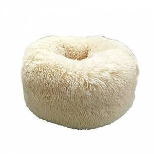 fghdfdhfdgjhh Comfortable Soft Plush Super Soft Pet Bed Kennel Dog Round Cat Winter Warm Sleeping Bag Puppy Cushion Mat Cat Supplies(M, beige)