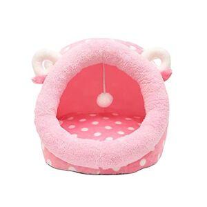 fghdfdhfdgjhh Pet Dog Cat Litter Kennel Mattress Cat Supplies Small Dog Washable Teddy Wo Summer Sleeping Bag Sleeping Nest(L, pink)