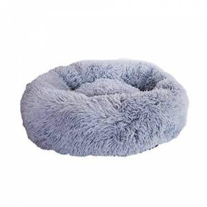 fghdfdhfdgjhh Comfortable Soft Plush Super Soft Pet Bed Kennel Dog Round Cat Winter Warm Sleeping Bag Puppy Cushion Mat Cat Supplies(S, light gray)