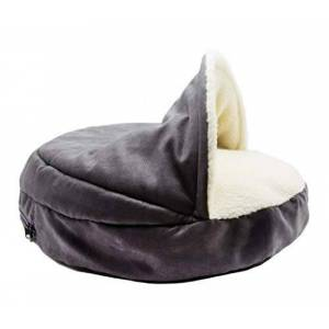 HEI SHOP Pet Bed Removable And Washable Semi-Closed Half-Roof Cat Litter Kennel Sleeping Bag Pet Litter,Gray,XL