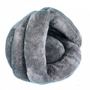 PLDDY Plush warm dog bed,Cat nest,Cat sleeping bag,Tent Cashmere + PP cotton soft Cotton Thicken Autumn and winter Small dogs Cats (Color : GRAY, Size : 56 * 52 * 46cm)