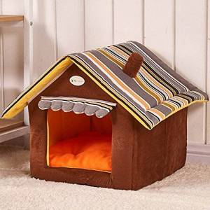 zhbotaolang Home Shape Soft Cozy Sleeping Bag Mat Portable Non-Slip Dog Cat House Pad Cushions Dogs Warm Lovely Pet House Pet Beds(M)