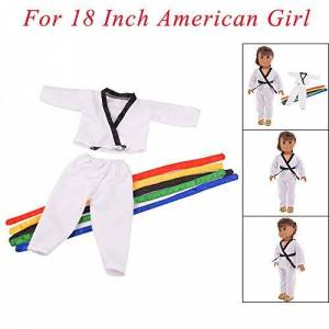 YUYOUG_Doll Clothes , 2 Packs Cute Taekwondo Uniform Clothes Set Accessory Outfit Clothes For 18 Inch American Girl Boy Doll Accessories Girl Gift Toy