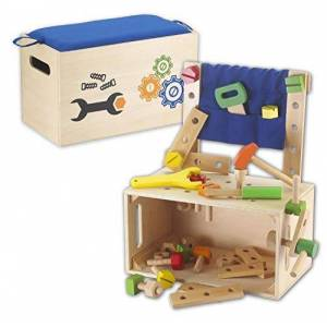 Kids Toy - Wooden Workbench Toolbox & Wooden Tools