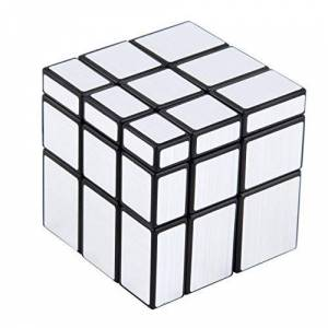 Jasnyfall 3x3x3 Compact and portable Mirror Blocks Silver Shiny Magic Cube Puzzle Brain Teaser IQ Kid Funny Worldwide Great gift(silver) Jasnyfall
