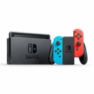 Nintendo Switch (Neon Blue and Neon Red Joy‑Con) with Generic Tempered Glass