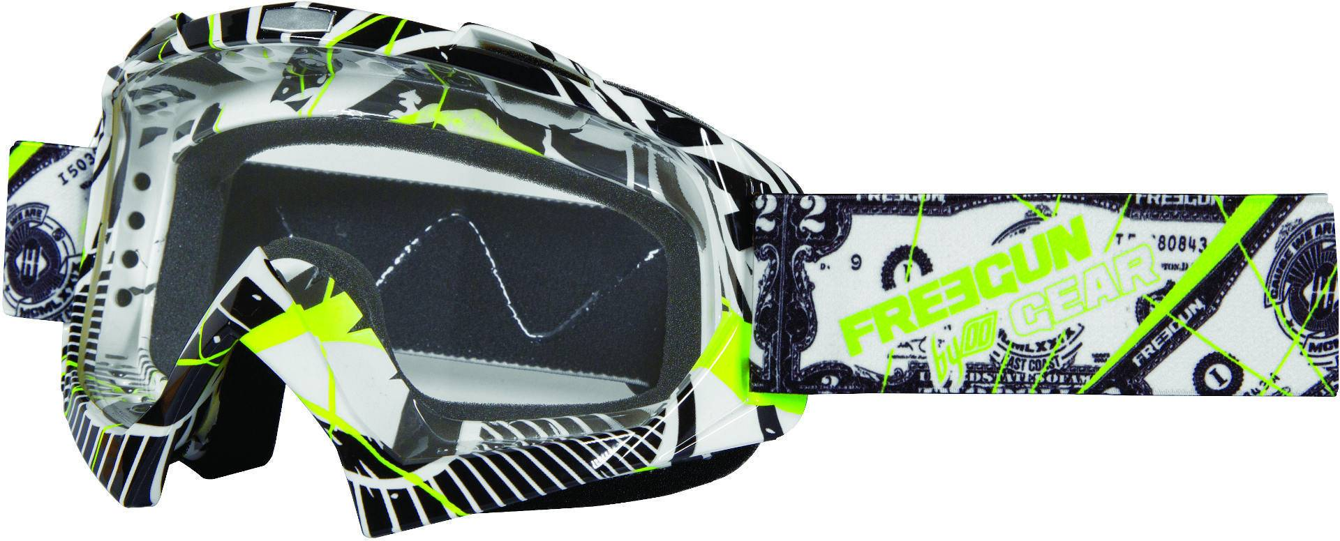Freegun YH-16 Green Dollar Motocross Goggles White Green One Size