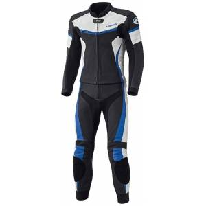Held Spire Two Piece Motorcycle Leather Suit Black Blue 52