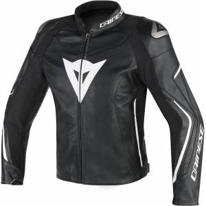 Dainese Assen Perforated Motorcycle Leather Jacket Black White 56