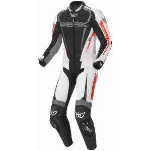 Berik Race-X Two Piece Motorcycle Leather Suit Black Grey Red 54