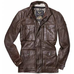 Black-Cafe London Classic Motorcycle Leather Jacket Brown 50