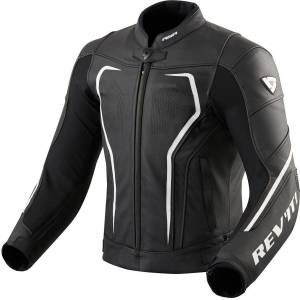 Revit Vertex GT Motorcycle Leather Jacket Black White 46